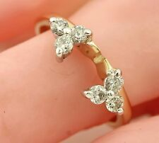 14k yellow gold .30ctw round diamond sz 5.25 wedding ring band enhancer guard
