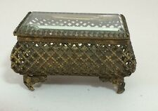 Vintage Gold Gilt Ormolu Beveled Glass Footed Trinket Jewelry Box Casket Signed
