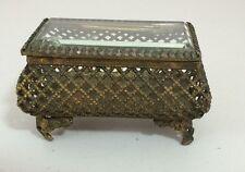 Vintage Gold Gilt Ormolu Beveled Glass Footed Trinket Jewelry Box Casket Signed