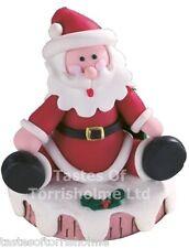 Culpitt Santa Claus Sitting On Yule Log Claydough Christmas Cake Topper Figurine