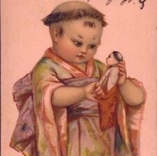 Scarce Brundage.Asian,Japanese Child With Doll,Stroefer,Chromolith Postcard