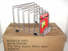 Case Brand New 6 Lot Staples File Step Sorter Silver Wire Mesh 5 Graduated Slots