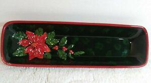 "Ganz Bella Casa Christmas Holiday Poinsettia 14"" Serving Tray. 14x4x2"