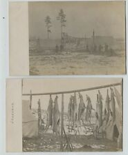 2 1910 Era Deer Hunting Camp Lakeland Michigan Real Photo Postcards Rppc