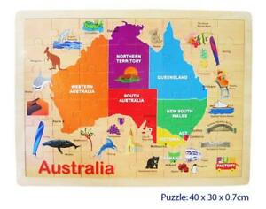 NEW Fun Factory Educational Wooden Puzzle Australia Map 48pc