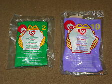 NIP 2 Mc Donalds TY BEANIE BABY Babies #2 ANTSY The Anteater 10 STRETCHY Ostrich