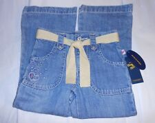 OshKosh Girls Embellished Adjustable Waist Denim Jeans + Lurex Sash Five (5) NWT
