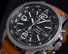 Seiko Mens Solar Chronograph 100M Watch SSC081P1 Warranty, Box, RRP:£330