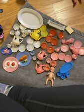 50+ Piece Lot Of Vintage Hard Plastic Doll Cups Dishes Saucers Made In Hong Kong