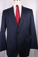 Hugo Boss Navy Blue Striped Wool One Button Suit 40 R 36 31 Flat Pants