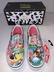 Vans Disney NEW Kids Slip-On Shoes Alice in Wonderland Pink kids 13 NWT