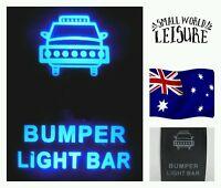 12V 24V Blue LED Light Bar Bumper Rocker Switch laser etched work 4wd ute 4x4
