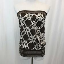 Trina Turk $128 SILK Brown and White Knot Patterned Multi Color Tube Top Sz L