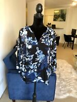 Nordstrom Saint Tropez Blue Pink Floral 3/4 Sleeve Button Blouse Size Medium