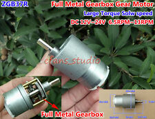 Full Metal Gearbox Gear Motor DC 12V~24V 6.5RPM-13RPM Large Torque  Slow Speed