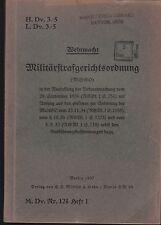 H.Dv. 3/5 Militärstrafgerichtsordnung. Original 1937