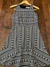 LOFT Fit and Flare Dress Black and White Geometric 2P