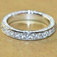 14k White Gold Over 2.00 Ct Round Diamond Eternity Band Anniversary Ring Women's