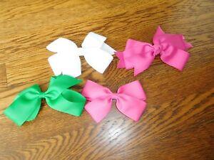 Lot of 4 Girls Hairbows,2 Pink, 1 White & 1 Green