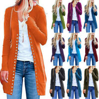 Women's Fashion Solid Color Long-Sleeved Button Cardigan Loose Knit Jacket Coat