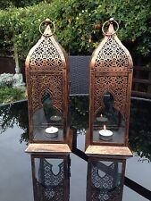Set di 2 Lanterne Stile Marocchino carpenteria metallica tè luce CANDELA Matrimonio Regalo di Natale