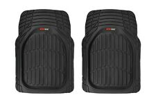 Odorless Deep Rubber Large Front Car Floor Mats 2 Piece Set - All Weather Black