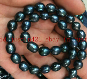 GENUINE 9-10MM NATURAL SOUTH SEA BAROQUE BLACK RICE PEARL LOOSE BEADS 14'' AAA++