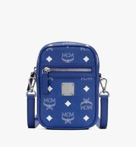$495 New MCM Unisex X-Mini Crossbody Bag in Visetos Original Blue MMRASVI01H1001