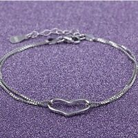 Chain Links Bracelet Bangles Wedding Engagement Jewelry Silver Plated Female