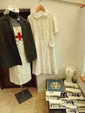 Military WW2 Nurse Uniform Nursing Hat Photos Cape Dress Red Cross Society (4901