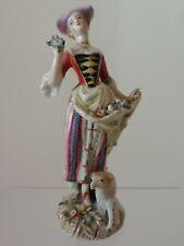 Sujet Femme Agneau en porcelaine Allemande SAXE MEISSEN ? à identifier XIXème