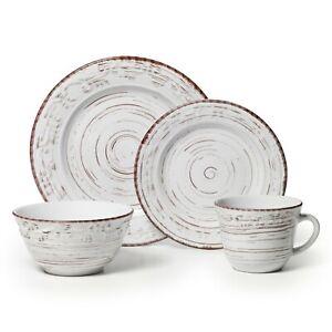Pfaltzgraff Trellis White Stoneware 16-piece Dinnerware Set NEW FAST FREE SHIP
