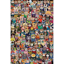 Wooden Jigsaw Puzzle 500 PCS Cat's Group Photo Cartoon Animals Kid Toy Painting