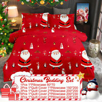 Winter Christmas Print Duvet Quilt Cover Bedding Set + Pillowcases King  //
