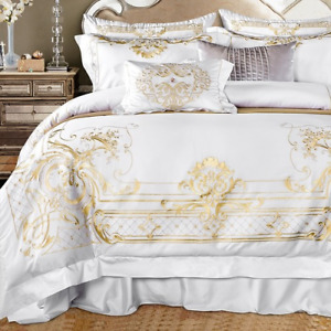 Queen Bedding set White Egyptian Cotton Gold Embroidery Duvet cover Bed sheet