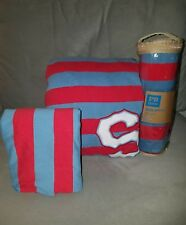 Pottery Barn Teen Super Star Rugby Stripe Duvet + shams blue/red Twin