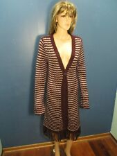 Xl maroon/white STRIPED LARGE KNIT DUSTER jacket by DECREE