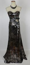 NEW Size 0 Tony Bowls $500 Mermaid 0 Strapless Sequin Long Gown Prom Formal Mult