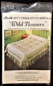 """Vintage Unopened Bucilla Cross Stitch Quilt Kit # 3634 """"Wild Flowers"""""""