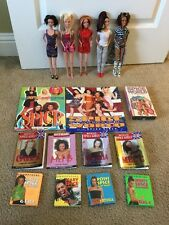 "Spice Girls 12"" Doll Complete Set Of All 5 Members Clothed Plus 10 Books, 1 VHS"