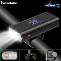 Powerful 2*T6 LED Bicycle Front Light USB Rechargeable Bike Headlight 6 Modes
