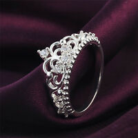 Women Princess Queen Crown Silver Plated Wedding Crystal Sterling Ring Jewelry F