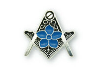 Freemasons Silver Square and Compass Lapel Pin with Masonic Forget Me Not
