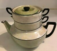 Vintage Lustreware Ceramic Teapot Tea Set Creamer Sugar Bowl - Czech - Stacked