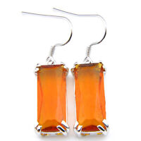 New Arrival Rectangle Brazil Citrine Gemstone Silver Woman Dangle Hook Earrings