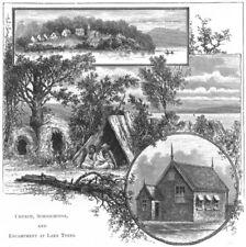 AUSTRALIA. Aborigines. Church, Schoolhouse & Camp at lake Tyers 1886 old print