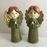 2 Vtg Mid Century 1960s CHRISTMAS ANGELS Papier-Mache Made JAPAN Green Gold 7.5""