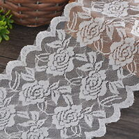 5Yards 15cm White Elastic Lace Trim Ribbon Fabric DIY Decor Crafts Sewing