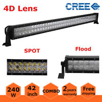 42inch 240W Flood&Spot CREE 4D Optical LED Work Light Bar Offroad SUV Ford Truck