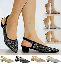 Para Mujeres Damas Fiesta Diamante neto corte Bloque Talón Bajo Zapatos Sandalias Talla 20512